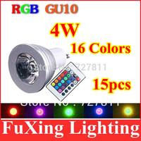 3W 4W GU10 RGB LED Bulb Light 16 Color RGB Change Lamp 110V/220V 15pcs/lot free shipping Holiday home party lights