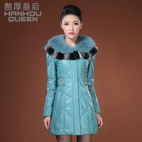 Queen 2013 autumn medium-long slim outerwear sheepskin down coat genuine leather female clothing