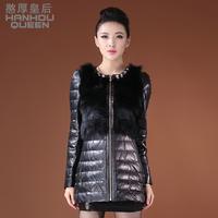Queen 2013 female medium-long slim leather fox fur down coat genuine leather clothing outerwear