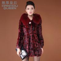Queen 2013 mink hair fur overcoat female medium-long fur coat fox fur