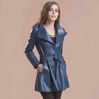2013 autumn genuine leather clothing trench skirt medium-long sheepskin women's overcoat