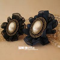 Handmade quality female brooch vintage elegant flower brooch lace pearl pin brooch