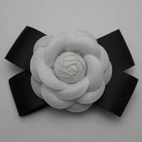 N18 bow brooch white non-woven camellia 12cm
