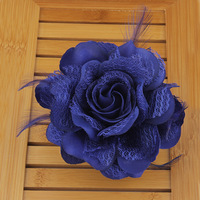 Lace flower hair accessory fabric corsage big flower feather brooch gentlewomen ol elegant