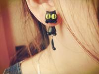 Diy polymer clay soil accessories earring earrings cartoon small cat 925 silver stud earring