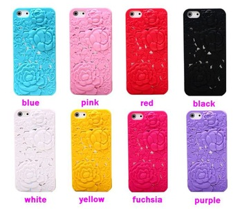 Drop Shipping Ultra Thin Hollow Elegant Rose Embossed Mesh Hard Back Case Cover for iphone 5 5G