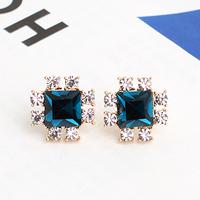 ks bijoux 18k gold filled earrings for women   Blue square crystal  elegant stud earring e9336b  Min.order $10