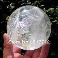 FREE SHIPPING>>>  Hot Sell NATURAL RAINBOW CLEAR QUARTZ CRYSTAL SPHERE BALL HEALING GEMSTONE 60mm