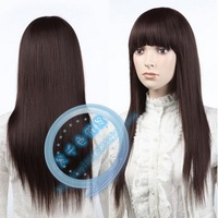 Cosplay wig brown wig long straight hair high temperature wire wig