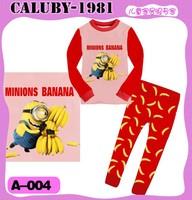 2013 September ,  6 sets/lot Boys Girls Sleepwear Children Pajamas long Sleeve Pyjamas, minions & banana