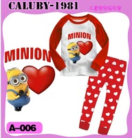 2013 September ,  6 sets/lot Boys Girls Sleepwear Children Pajamas long Sleeve Pyjamas,  Red heart & minions
