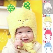 Free Shipping Cute Rabbit Shaped Caps for Children Super Soft Velvet Earflap Kids Headwear Korea Style Boys Girls Hat(China (Mainland))