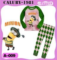 2013 September ,  6 sets/lot Boys Girls Sleepwear Children Pajamas long Sleeve Pyjamas, Green Golf minions by Car