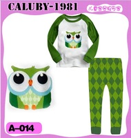 2013 September ,  6 sets/lot Boys Girls Sleepwear Children Pajamas long Sleeve Pyjamas, Green Owl style