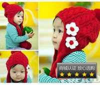 Child baby ear protector cap autumn and winter knitted hat cap flower ear protector