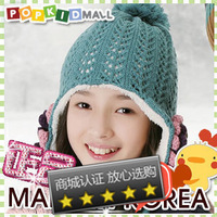 Winter child hat knitted hat ear protector cap baby hat flower cutout plus velvet knitted hat