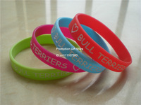 Love Bull Terriers Wristband, Silicon Bracelet, Adult size, 4colours, 100pcs/lot, free shipping