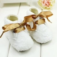 Very Beautiful 3pairs/Lot Simple Design Pure Color Silk Ribbon Decoration First Walkers Princess Baby Girls Shoes Kids Footwear