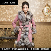 One piece fur overcoat outerwear fur fox bordered pigskin plus cotton long fur design