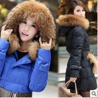 2014 new women's large fur collar slim medium-long down coat women's winter fur hat with fur hood free shipping