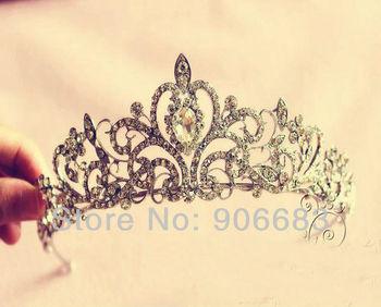 New Princess Diaries Magazines, Fine Rhinestone High Class Bridal Headdress Wedding Tiara Crown Jewelry Accessory  Free Shipping