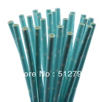 Free shipping wholesale paper drinking straws party supply wedding supplies Star blue color  500pcs
