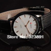 free shipping new fashion Curren mens black genuine leather wrist quartz watch white face f3
