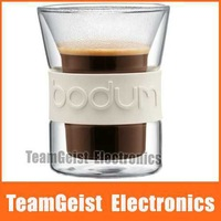 2pcs/pair Brand NEW 180ml Bodum Double layer Insulation Anti Slip Presso Glass coffee cup mug wine Glass cup with Original BOX