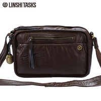 Linshi tasks fashion male shoulder bag man bag casual vintage messenger bag