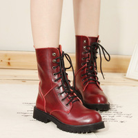 Free shipping 2013 new sapatos shoes ladies women's ankle boots genuine leather army red  punk lace boots pink  martin shoes