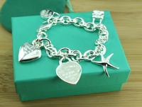 2014 New Arrival,Wholesale Fashion Jewelry,925 Silver heart star harm Bracelets , Bracelet Jewelry