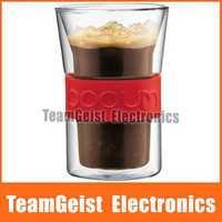 2pcs/pair Brand NEW 300ml Bodum Double layer Insulation Presso Glass coffee cup mug wine Glass cup & Original BOX Free shipping
