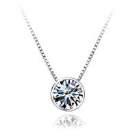 925 pure silver necklace short design chain female round diamond pendant
