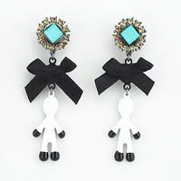 Laciness bow paint earrings fashion vintage rhinestone long drop earring Women