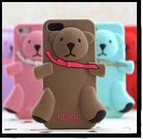 DHL free 3D novelty luxury brand Teddy bear milan Silicone Case Cover for iPhone 5 4 4s with retail package 100PCS