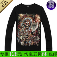 Metal 100% male casual autumn cotton o-neck long-sleeve 3d T-shirt long-sleeve shirt men's clothing poleaxe skull