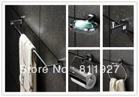 brass clothes hanger wall soap basket toilet paper dispenser towel rings towel bar bathroom accessories 5 pcs set
