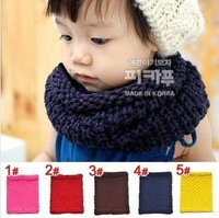 5 Color All-matching Autumn Winter Unisex Kids Scarf Thick Yarn Children's Neck Warm Wear Solid Color Wraps Free Shipping