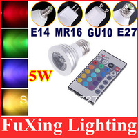 Hot Sale 1X Energy Saving 5W GU10 E27 MR16 RGB E14 with 24keys IR Remote LED Bulb Lamp light Color changing