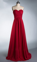 ZJ0039 wine red colored chiffon strapless prom party dresses new fashion 2013 bridesmaid dress long