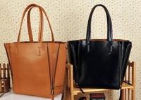 2013 fashion cowhide zipper shopping bag eco-friendly bag genuine leather big bag