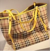 Fashion ayomi haymarket tote bag classic color block decoration check shoulder bag