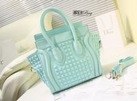 2013 blingbling paint handmade smiley bag rivet handbag shoulder bag messenger bag