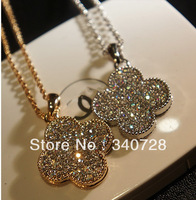 2013 New Luxury Classic Designer Four Leaf Clover Pendant With Full Rhinestond and Crystal Long Chain Necklace For Women