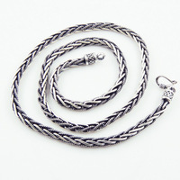 925 pure silver thai silver vintage Men necklace knitted necklace