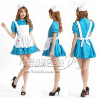 Blue sexy maid service nurse clothing mix match women's sexy underwear role of service
