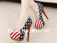 2014 New arrival united states design fashion american flag 14cm sexy women high heel american flag pumps shoes size 34 - 40