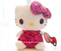 Free shipping Sequined Little hELLO Kitty stuffed toys legal copy 26cm Wedding birthday gift 2013 pp wedding gifts PlushToy