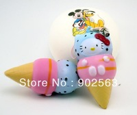 2013 new novelty  toy/key chain cute kawaii hello kitty icecream squishy charms buns bread with tag PU freeshipping
