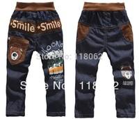Free Shipping 4pcs/lot Kids casual pants Boys Cartoon bear trousers Children jeans Smile pants Lowest Price
